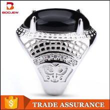 Alibaba jewellery best selling products natural gemstone black agate 925 sterling silver ring imported from China