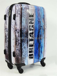 abs pc luggage Alibaba 2014 customer design as pc printed luggage seaside luggage