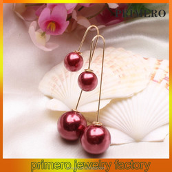 PRIMERO Fashion New Design zinc alloy Earrings With Imitation Pearl Double Sides Earrings U Shaped Ear Hook
