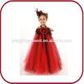Toda la venta lindo rojo con vestido largo flor vestido de la muchacha pggd- 2699