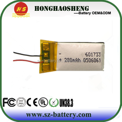 A power- polymer battery 601733 280mAh rechargeable lithium battery panels