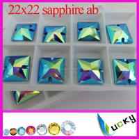 sapphire ab color sew on crystal Top quality flat back rhinestone buttons with holes