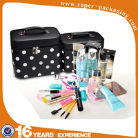 customized professional PU Cosmetic facial make up case with light mirror