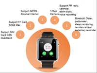 2pcs Free shipping Multi Functional Bluetooth Smart watch for Smart Android phones