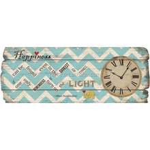 """""""HAPPINESS"""" BLUE AND WHITE WAVES LARGE WALL CLOCK"""