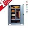 double door steel wardrobe cabinet with bag storage / 2 door bedroom clothes wardrobe with shelves support