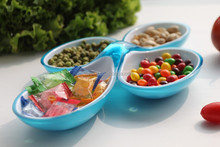 Home Party Plastic Candy Plate, Colorful Snack Bowl, 4PCS Dish Plate