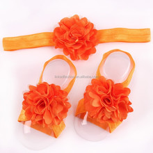 Wholesale Chiffon fabric flower baby girl headbands pearl elastic hair band for infant