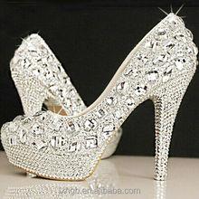 Women Ladies Platform Gems Weddging Party silver dimond Crystal High Heels Shoes
