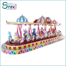 8 seats Royal Circus fairground electric music whirligig mini carousel kiddie ride small merry go round swing for sale