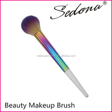 Sedona colorful series powder brush for make up,big size blush brush with rainbow color handle,synthetic hair cosmetic brushes