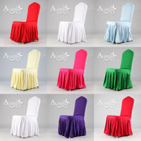 2015 new design banquet skirting chair cover with pleat for hotel/wedding party instead of spandex chair cover