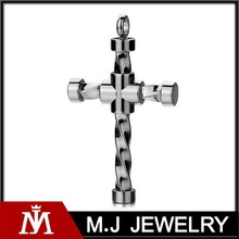Professional Produce 316L Stainless Steel Jesus Cross Pendants with Silver Punk Charm Jewelry