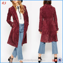 2015 Latest arrival high quality women casual real suede leather long trench coat