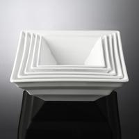 2015 New Design White Ceramic Bowl, White Porcelain Salad Bowl, Square vegetable bowl 6inch~10inch For Hotel&Restaurant