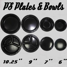 Disposable PS Black Thermoformed Plastic Plates And Plastic Bowls
