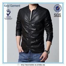 2014 de moda de alta calidad delgado negro hombres ropa de cuero
