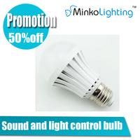 Sound and light control plastic 7w bulb AC85-265 led CE ROHS Epistar bridgelux high lumen