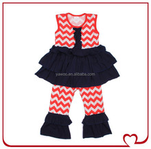 Organic Baby Solid Cotton Ruffle Sleeveless Dress Top And Casual Ruffle Stripe Pant Vintage Clothing Wholesale Children