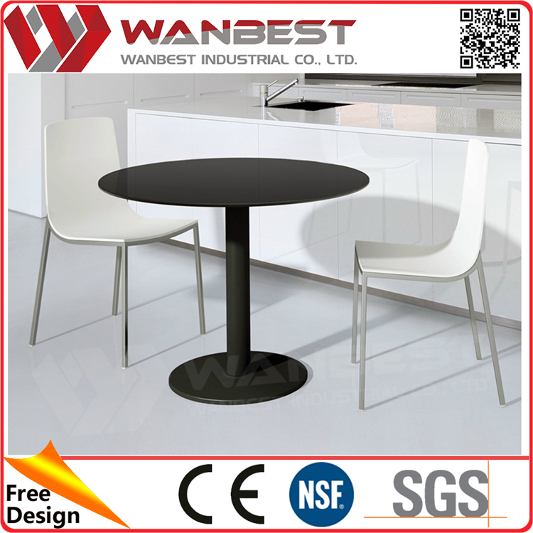 DT-013B- Black Round  Artificial Marble Iron Leg  Dining Table