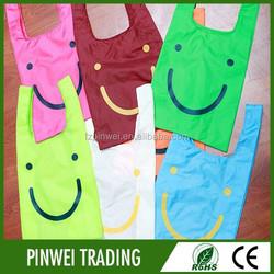 cheap pouch nylon foldable shopping bag, custom folding nylon tote bag