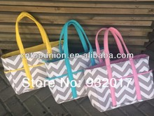 2015 new zig zag chevron diaper bag chevron nappy bag chevron tote bag