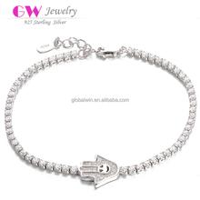High Quality Diamond Bracelet 925 Sterling Silver Skull Bracelet