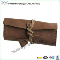 100% pure cowhide leather handmade minimalist roll leather pen and pencil case