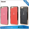 Elegent leather wrapped cover phone case for apple iphone6+ with diamond