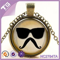Hot sales !!! Charm Beard Sunglasses necklace glass cabochon statement necklace Presents for the children