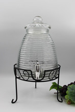 Threads glass dispenser with glass lid and iron stand