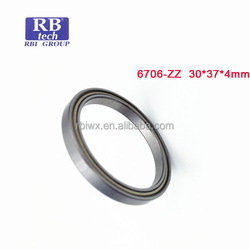 China brand RB TECH 67 series rich stock thin wall ball bearing 6706 ZZ for fishing reels