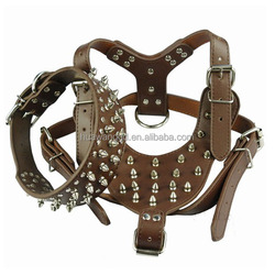 Spikes Studded Genuine Leather Dogs Pet Harness