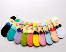 A883 2015 100% COTTON south korea wholesale fashion personality cute 3D bowknot women invisible boat socks