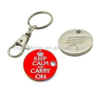 brand logo coin keychain shopping coin key chain