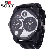 SOXY Luxury Brand Men's Sports Rubber Watchband Army Fashion Casual High Quality Rubber Wristwatches Japan Movement Quartz watch