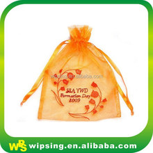 Fancy orange drawstring pouch with embroidery logo