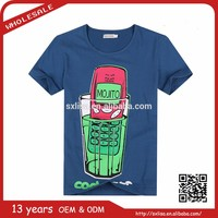 2015 new summer collection men's cotton fashion print t shirt cell phone cock tail from Italy design tee on line shopping