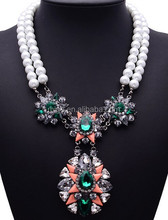 2015 spring summer newest long crystal pendant necklace big chunky pearl necklace N2648