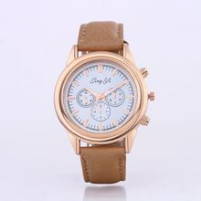 Elegant Fashion 6 Color Wrist Watch Popular Leather Strap Clock Hours Luxury Quartz Watch Women High quality Casual Gold Watches