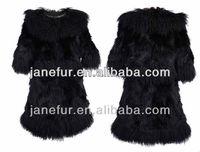 Fox fur long white coat with mongolia collar Italian 2014-2015 newest fashion