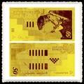 Oro arte y artesanía 50 siclo Israel 24 K color de polímero de billetes de banco dorado para cobro valor