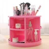 Big round shape plastic 360 spinning cosmetic makeup organizer