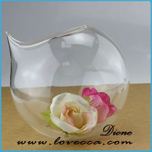 factory direct cheap flower vases / beautiful glass vase / ball shaped glass flower vase