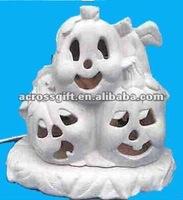white ceramic lighted cute baby ghost pumpkin