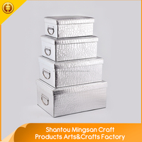 2016 China manufacturer handmade pure color silver cheap shoe boxes for storage