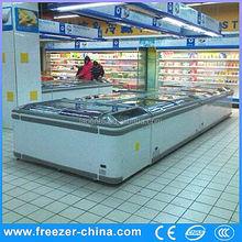 curved glass display freezer guangzhou manufacturer