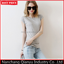 Wholesale Slim Fit Short Sleeve Grey T Shirt for Women