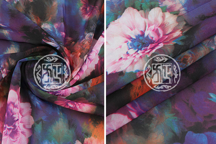 2014 Fashion silk chiffon floral printed fabric