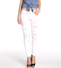 OEM/ODM Wholesale Washed Off White Women Pants Lady Jeans